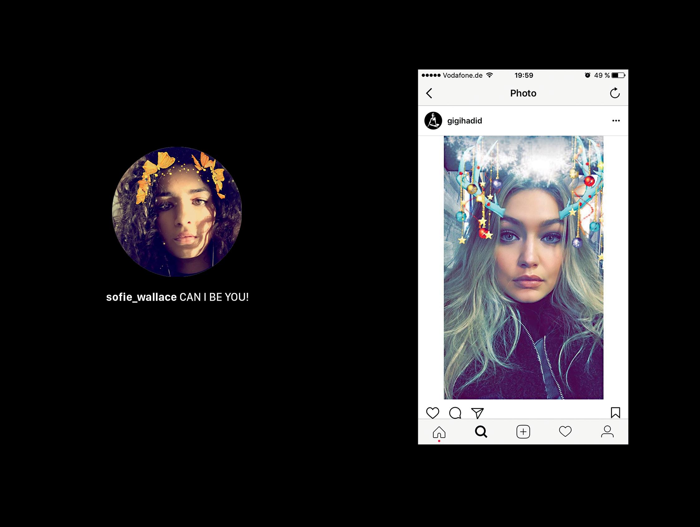 GIGI HADID, Instagram, selfie, art, appropriation, influencer, follow, follower, comment, emoji, beauty, worship, photography, book, RELICS, Hatje Cantz, © 2017 Chris Drange
