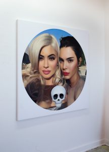"""painting """"Kylie, Kendall and Skull"""" by Chris Drange"""