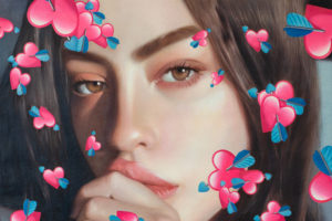 Detail from painting called Untitled (Cupid Hearts)